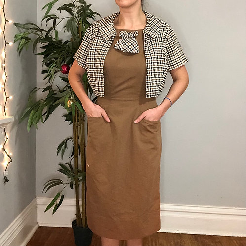 Vintage 60s Brown Sheath Dress with Matching Cropped Jacket