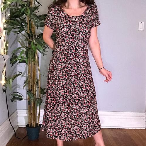 Vintage 90s Short Sleeve Floral Print Maxi Dress