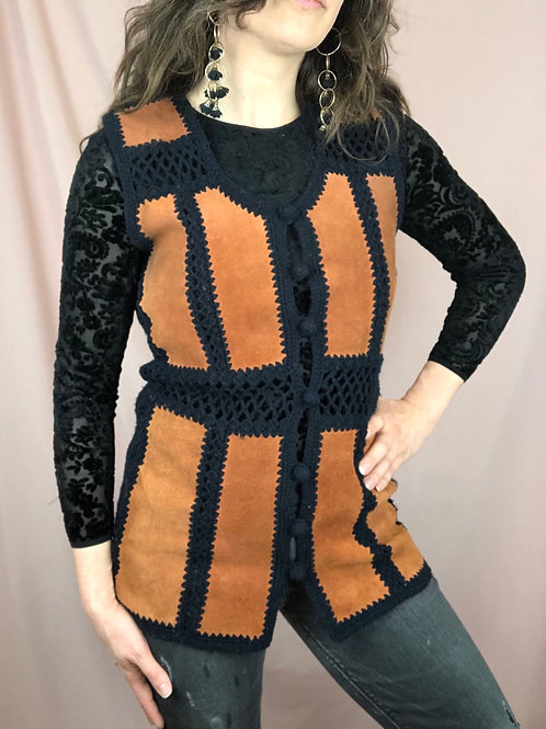 Vintage 70s Button Up Sweater Leather Vest