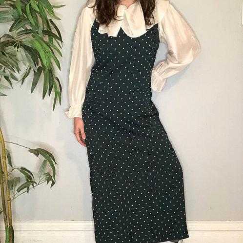90s Forest Green Polka Dot Sleeveless Maxi Dress