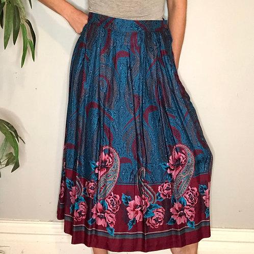 Vintage Paisley Floral Print Pleated Skirt