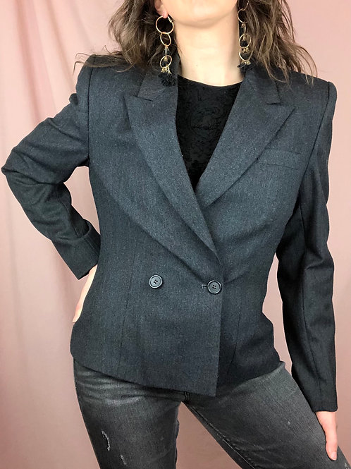 Vintage 80s Double Breasted Wool Blazer for Petites