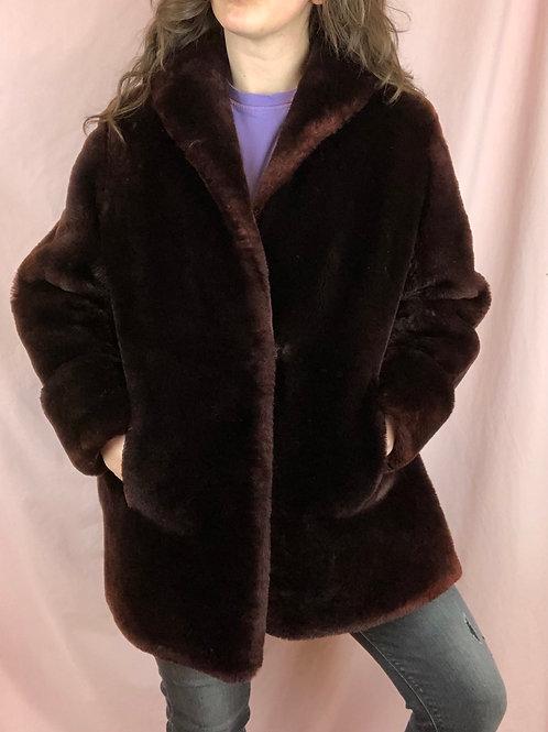 Vintage 60s Brown Faux Fur Short Length Coat