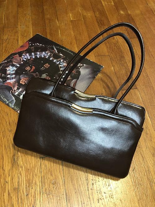 Vintage 70s Brown Leather Hand Bag
