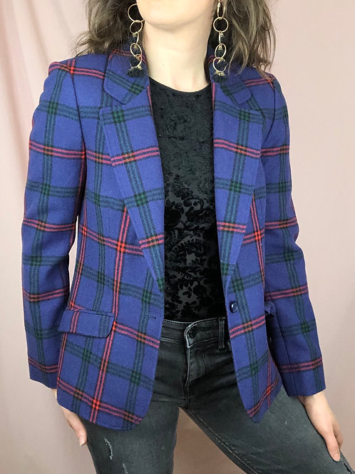 Vintage Pendleton Purple Plaid Cropped Blazer