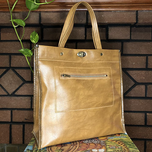 Vintage 70s Tan Faux Leather Tote Bag