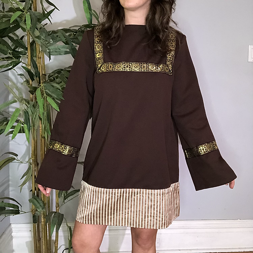 Vintage Handmade Long Sleeve Shift Dress with Satin and Gold Ribbon Accent