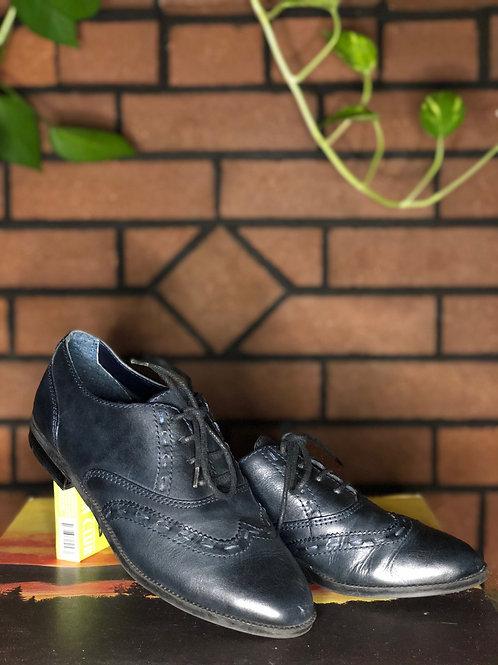 Vintage Blue Leather Oxford Shoes
