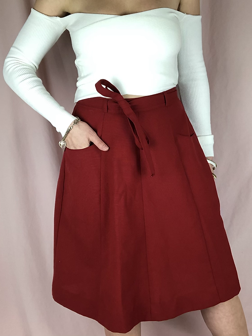 Vintage Wool Blend Wrap Skirt with Pockets