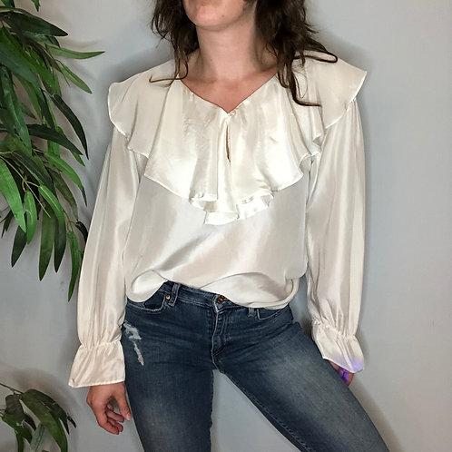 Cream Silk Ruffled Blouse with Poet Sleeves