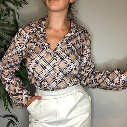 Vintage Plaid Button Up Blouse