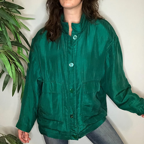Vintage Silk Button Up Puffer Coat Jacket