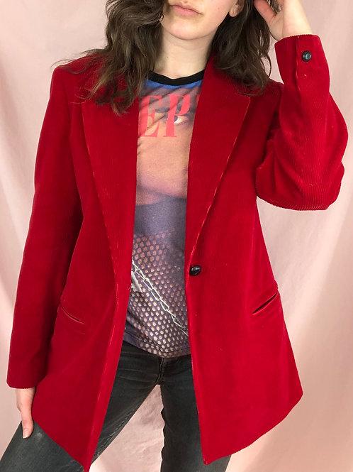 Vintage 70s Red Corduroy Single Button Blazer
