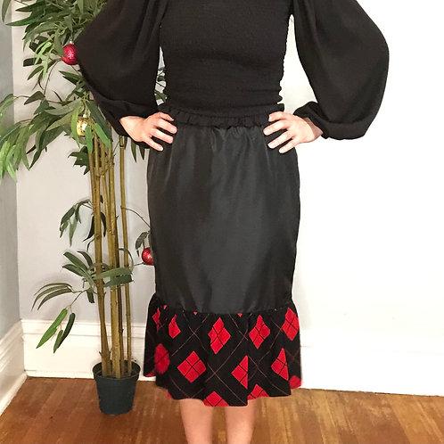 Vintage Mermaid Skirt with Red Diamond Plaid Hem
