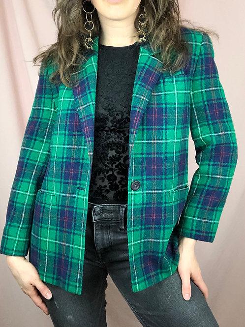 Vintage Pendleton Green Plaid Wool Blazer