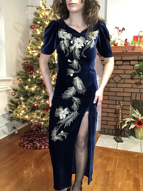 Vintage Blue Velvet Maxi Gown with Silver Beads Embellishment
