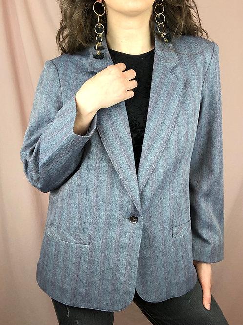Vintage 80s Light Grey Subtle Striped Blazer