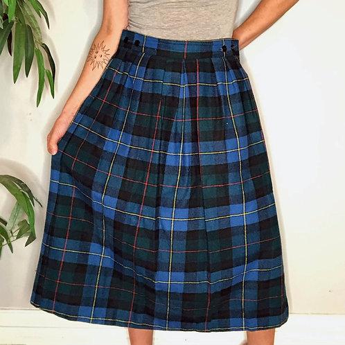 Vintage Plaid Wool Blend Pleated Midi Skirt