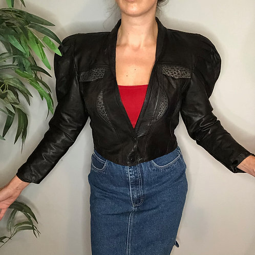 Vintage Black Leather Jacket with Puff Sleeves