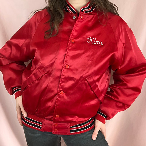 "Vintage 80s ""Kim"" Red Satin Bomber Jacket"