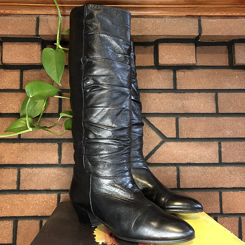 Vintage Fratelli Rossetti Black Ruched Leather Knee High Boots