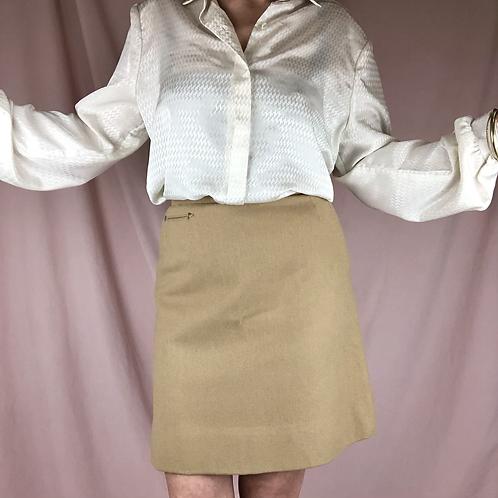 Vintage Tan Wool Mini Skirt