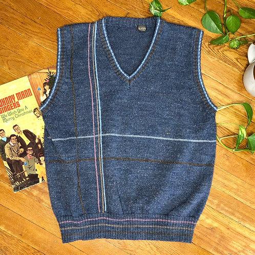 Vintage Blue Striped Sleeveless Sweater Vest