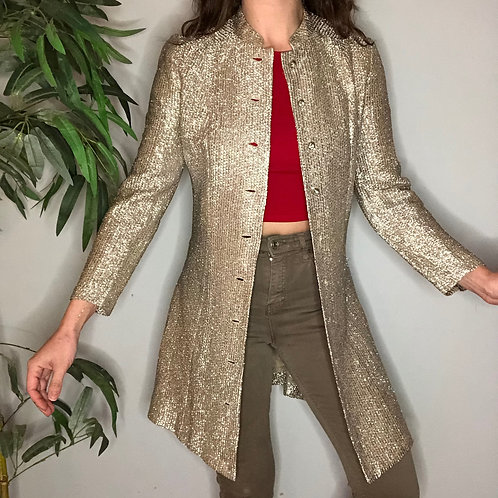 50s / 60s Metallic Champagne Button Up Jacket