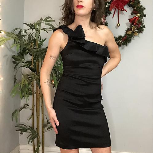 Vintage 90s Black One Shoulder Ruffle Strap Mini Dress