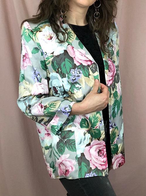 Vintage 80s Satin Floral Blazer with Shoulder Pads