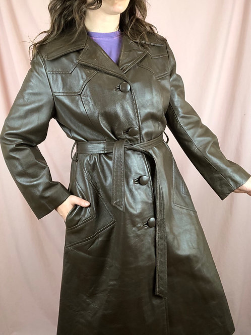 Vintage Brown Leather Trench Coat with Matching Belt