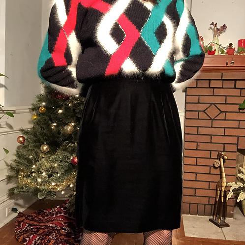 Vintage 90s Black Velvet High Waisted Pencil Skirt
