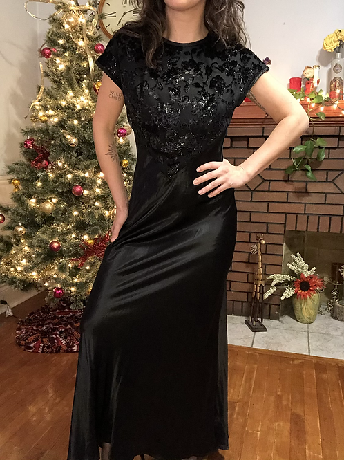 Vintage Black Floral and Satin Maxi Full Length Gown