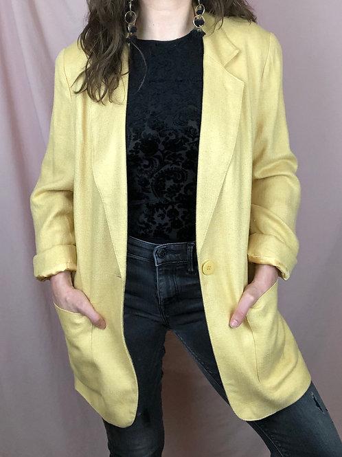 Vintage 90s Linen Blend Long Yellow Blazer /Blazer Dress