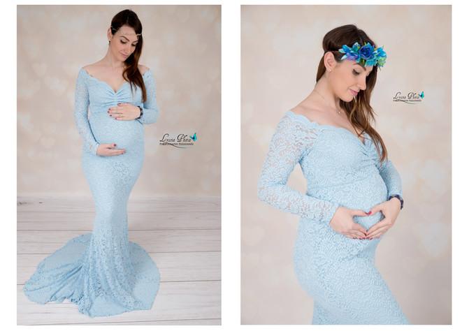 Une jolie future maman dans LA nouvelle robe sirène bleue du studio :D
