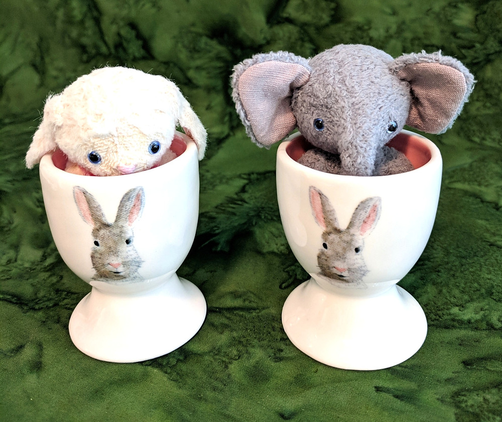 Tiny Matilda bunny and Lucky the elephant are just the right size to sit in a cute pair of egg cups. Full-size patterns available from sotreasured.com and sotreasuredshop on Etsy.