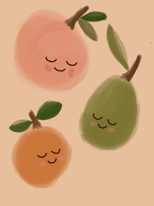 Happy Fruits Print.