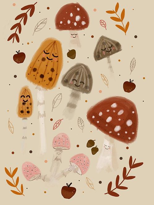 Mushroom Friends Print