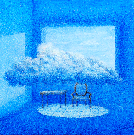A dialogue with clouds 24 by 24 Inches