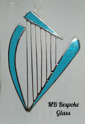 Stained Glass Harp Suncatcher