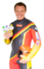 Felix Loch im Rennanzug mit Sportsfreund