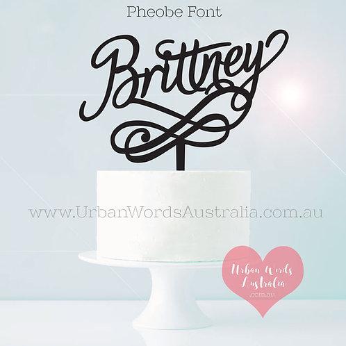 Custom Name with Swirl - Cake Topper