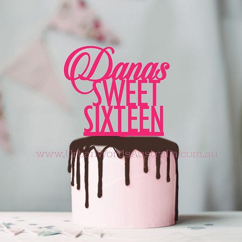 Custom Sweet Sixteen - Cake Topper