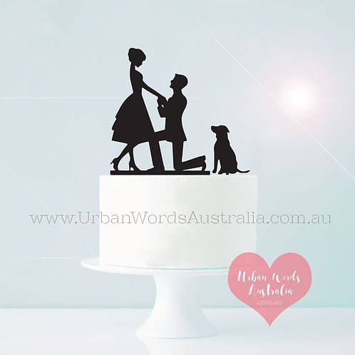 Proposal with Dog - Cake Topper