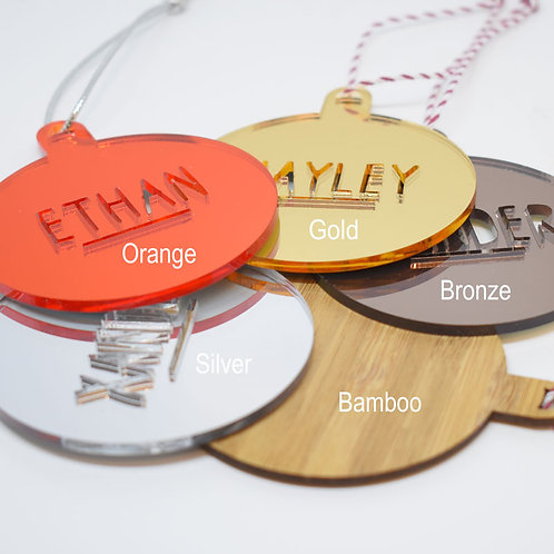 Name Baubles Christmas Ornaments