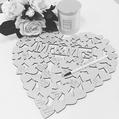 Mr&Mrs Heart Shaped Guest Book - MDF