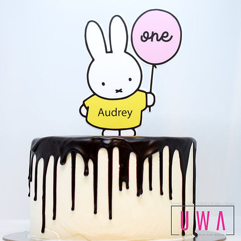 Miffy Pink Balloon - Personalised Cake Topper