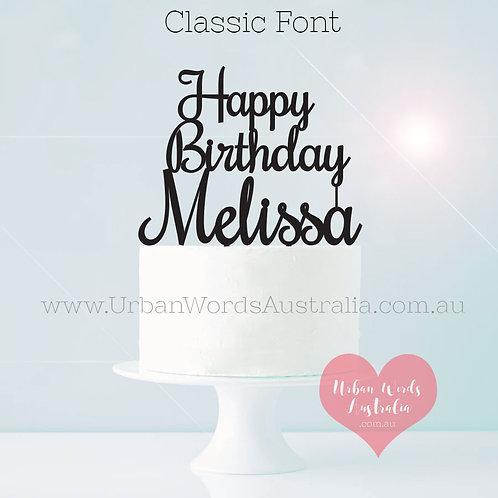Happy Birthday Custom Name - Cake Topper