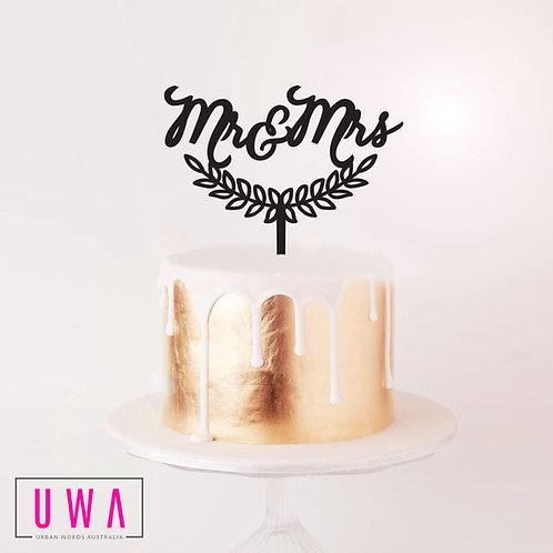 Mr&Mrs Wreath - Cake Topper