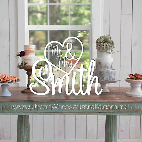 Mr & Mrs in Heart - Custom Surname WHITE  - Wedding Name Sign